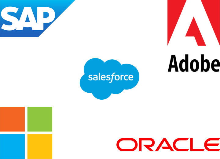 Logos of Salesforce.com, Oracle, SAP, Adobe, Microsoft
