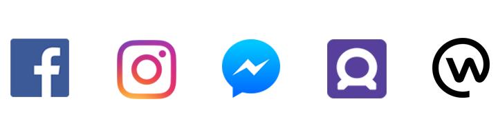 Logos of Facebook, Instagram, Messenger, Audience Network, Workplace
