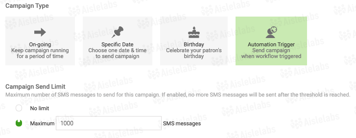 SMS automation triggers